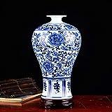 Jarrones Decorativos Ceramica Arte simple de la decoración moderna de la porcelana azul y blanca china para la oficina, la sala de estar o el hogar-e h30cmxd14cm ( Color : A , Size : H29.5cmxD17cm )