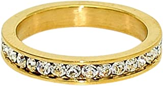 Birthstone Eternity Ring~April~Gold Plated Stainless Steel~Cubic Zirconia CZ Band~Diamond~Clear Crystals~Stackable~Mother's Ring~Children's Ring~Women's Jewelry