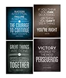Focus and Zeal Famous Historical Quote Posters for Motivational Wall Art for Home, Work, Office, Teamwork, Success, School History and Social Studies Classroom; Inspirational Decor, 8x10 Inch; Set of 4, Ready to be Framed
