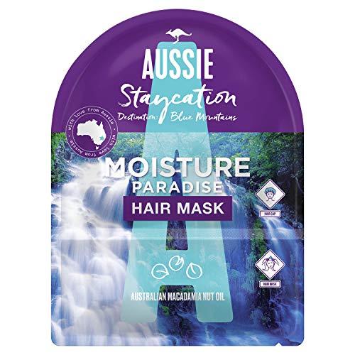 Aussie Staycation Mascarilla Capilar y Gorro, Paraíso de Hidratación, Destino: Las Montañas Azules con Aceite de Nuez de Macadamia de Australia, 20 ml