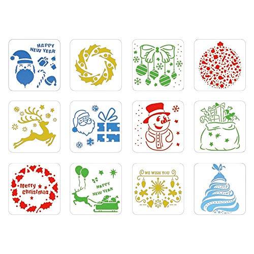 MEISHANG Schablonen Weihnachten, Zeichenschablonen Malschablonen aus Kunststoff, Stencil Schablonen Wiederverwendbar für Scrapbooking Fotoalbum, DIY Geschenkkarten (Weiß12-1)