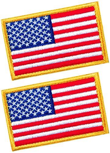 Taktische Patches von USA US Amerikanische Flagge mit Haken & Schlaufe für Rucksäcke, Kappen, Hüte, Jacken, Hosen, Militär, Armee Uniform Embleme, Größe 7,6 x 5,1 cm, 2 Stück