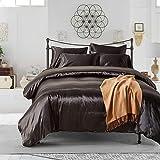 HYSENM Set Bettwäsche Kissenhülle x 2 Satin einfarbig glatt bequem Verschiedene Größen, Schwarz Bettwäsche(135 x 200cm)+2 x Kissenhülle(50 x 75cm)