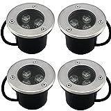 SAILUN 4x3W Foco LED empotrado Lámpara de pie redonda de acero inoxidable AC 230V IP68 270LM para Escaleras de Patio de Jardín vía Exterior (4 piezas) [Clase energética A ++]