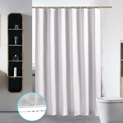 S·Lattye Extra Long Washable Shower Curtain Liner Bathroom Waterproof Fabric Cloth Polyester (Best Hotel Quality Friendly Damask Stripe) with Curved Plastic Hooks Set - 72 x 84, White