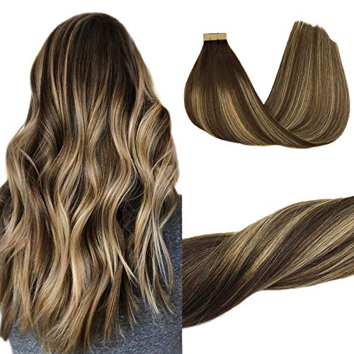 GOO GOO Hair Extensions Tape in Ombre Chocolate Brown to Honey Blonde 16 Inch 50g 20pcs Human Hair Extensions Straight Real Hair Extensions Tape in Remy Hair Extensions