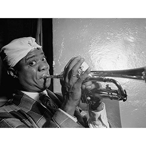 Wee Blue Coo Prints Vintage Photograph Music Louis Armstrong Trumpet Fun Poster Art Print Jahrgang Foto Musik Kunstdruck