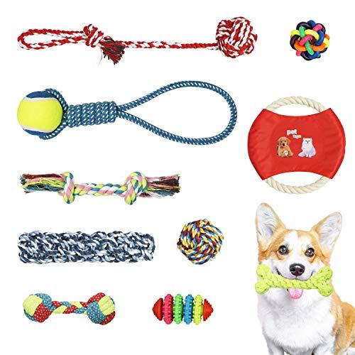 SUKCESO Dog Rope Toys. 10pcs 100% NaturalCotton Durable Puppy Puzzle ChewToysTeethingTrainingSetforSmallMediumDogs