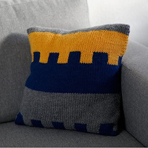 MyOma Strickset Kissen - DIY Kissen dreifarbig Retro Stricken Strickpaket mit 6 Knäuel Merino Mix Big in gelb (Fb 3295), Jeans (Fb 3850), Stein (Fb 3021) + Strickanleitung - DIY Strickpackung