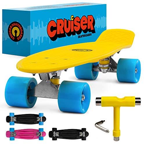 Retro-Skateboard im Cruiser-Stil, 55,9 cm, komplett mit Mini-Kunststoffbrett und Aluminium-Trucks, perfekt für Erwachsene und Kinder und Anfänger, mit Schraubenschlüssel (Biene Sting Gelb auf Schwarz)