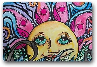 Lovely Sun Drawing Customized Doormat Entrance Mat Floor Mat Rug Indoor/Front Door/Bathroom/Kitchen and Living Room/Bedroom M
