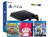 PS4 Slim 1Tb Negra Playstation 4 Consola (Pack 3 Juegos) + FIFA 20 + Crash Team Racing: Nitro Fueled...