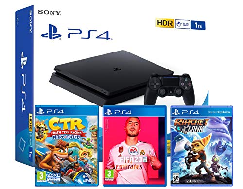 PS4 Slim 1Tb Negra Playstation 4 Consola (Pack 3 Juegos) + FIFA 20 + Crash Team Racing: Nitro Fueled + Ratchet & Clank