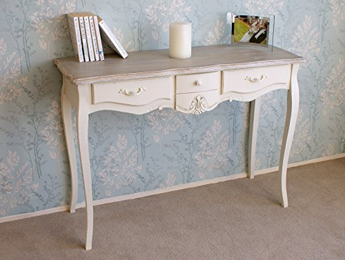 Leisure Traders Casamor/é Devon Cream Painted Shabby Chic 3 Drawer Console Table