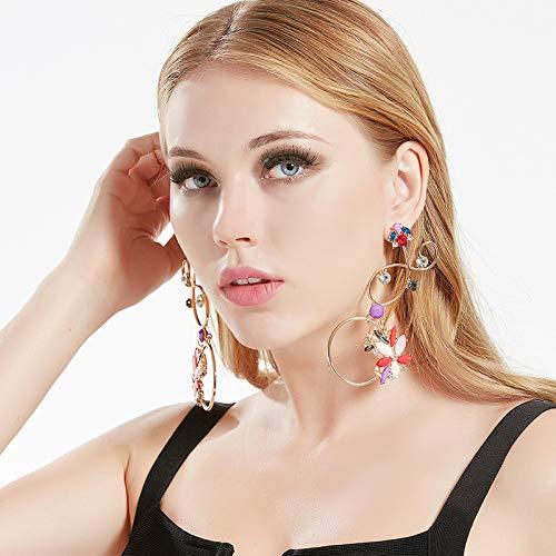 WANG XIN Moda exagerada Pendientes de Diamantes Florales engalanados de múltiples Capas de Mujer Pendientes Bohemios