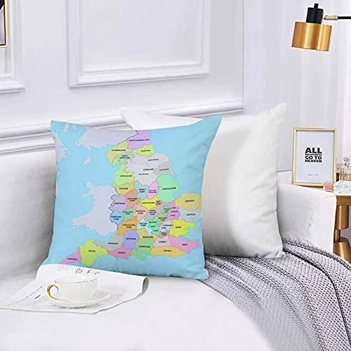 Lilatomer Funda de algodón 45 x 45 cm Colorido Frontera Condados Históricos de Inglaterra Mapa Administración Sofá Throw Cojín Almohada Caso de la Cubierta para Sala de Estar 45x45cm