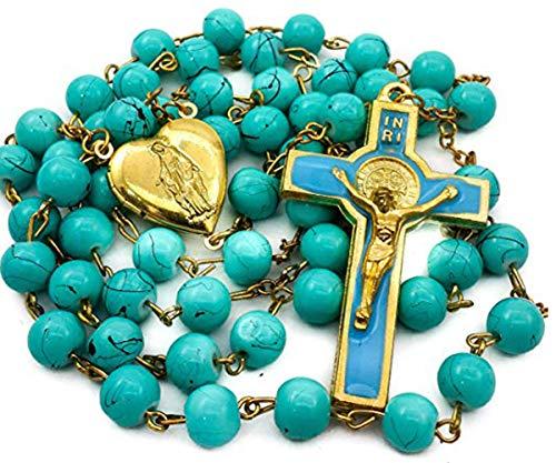 Nazareth Store - Collar de rosario católico de San Benito, turquesa, con medallón de corazón y cruz en bolsa de terciopelo