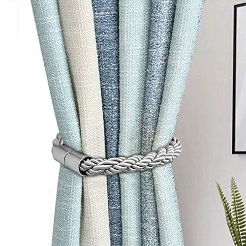 Queta Magnetische Vorhang Raffhalter, Vorhang Clips Seil Holdbacks Halter Schnallen für Home Office Dekoration Fenster Behandlung, 2 Stück (Silber)