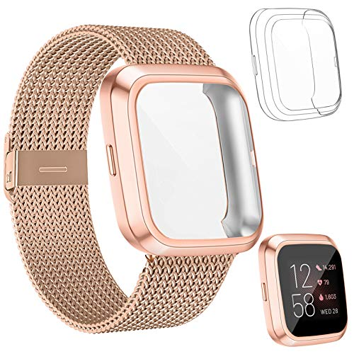 HAPAW Metal Bands Plus Screen Protector Case Compatible with Fitbit Versa 2, Stainless Steel Magnetic Mesh Strap Men Women Bracelet Wristbands Accessories with 2-Pack Bumper Cover for Versa 2 Smartwatch (RoseGold, Large)