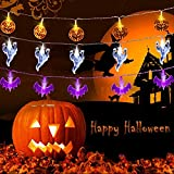 Evance 3 Pack Cadena de Luces, Calabazas Naranjas, Murciélagos Morados, Fantasmas Blancos 20 LED 2 Modos Guirnaldas Luces a Pilas Decoracion para Halloween, Navidad (3 Piezas)