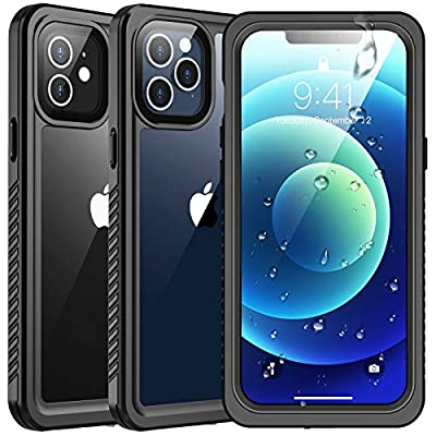 SPIDERCASE Waterproof Case Compatible with iPhone 12 /Compatible with iPhone 12 Pro, Case with Built-in Screen Protector, Black/Clear