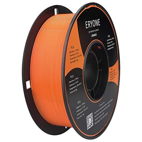 Filamento PLA 1.75mm, Eryone PLA Filamento de PLA para impresión 3D, 1kg 1 Spool,Naranja