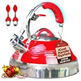 The Red Hotness Whistling Tea Kettle with...