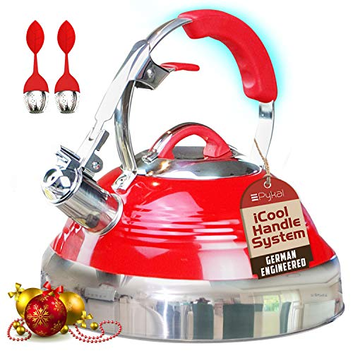The Red Hotness Whistling Tea Kettle with iCool-Handle Technology and 2 x Free Loose Tea Infusers, Surgical Stainless Steel, Compatible on all Stovetops - Induction or Gas, 2.8 QT Volume