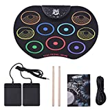 Tambor Electronico Electric Drum Kits Portable Digital Electronic Foldable Roll Up Drum Set Pads Practice 9 Drum Pads with 2 Foot Pedals and 2 Sticks for Kids Boys Girls Starter Beginners Gift 01