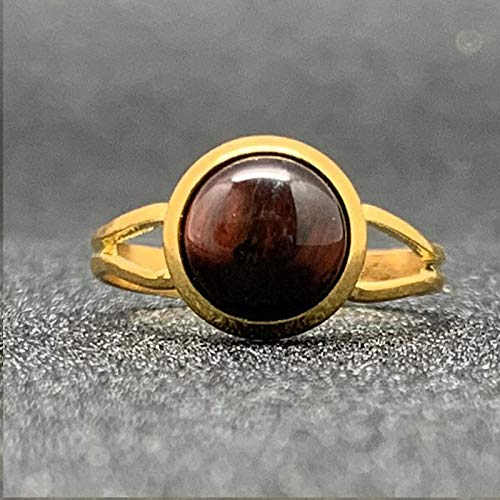 Adjustable Ring For Women,Golden Round Inlaid Natural Tiger Eye Stone Charm Adjustable Open Knuckle Tail Ring Finger Joint Toe Ring Jewelry For Women Girls Gift Wedding Engagement Mother'S Day
