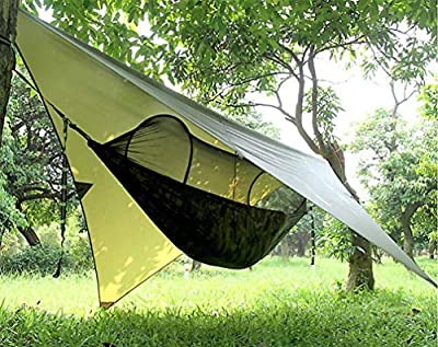 Gastonia Camo Camping Hammock with Mosquito Net and Rainfly & Tree Straps with Carabiners - Lightweight Portable Single Sleep Set for Hiking, Backpacking, Travel, Complete with Stow Away Pocket