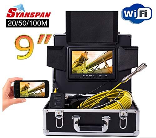AUXLL 9inch Wireless WiFi 20/50/100M cámara de inspección de la Pipa de vídeo,...