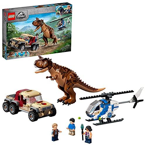 LEGO Jurassic World L'Inseguimento del Dinosauro Carnotaurus con Elicottero e Camioncino, Giocattoli per Bambini dai 7 Anni in su, 76941