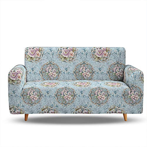 Funda Sofá de Universal Estiramiento, Morbuy Precioso Cubierta de Sofá Cubre Sofá Funda Furniture Protector Antideslizante Elastic Soft Sofa Couch Cover (3 plazas,Flor Noble)
