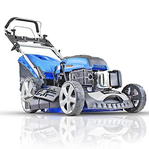 Hyundai Petrol Lawnmower Self Propelled Push Button Electric Start Lawn Mower 196cc, 20 Inch, 51cm, 510mm Cutting Width, Mulching, 70L Collection, Steel Deck, 600ml Engine Oil Included HYM510SPE