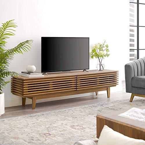 Modway Render 71' Mid-Century Modern Low Profile TV Stand in Walnut