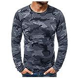 Hombres Camisetas Deportivo Camiseta Manga Larga Camuflaje Pullover Running Gym Entrenamiento Sweatshirt Impresión Tops Cómodo Básica Casual Otoño Invierno(Gris Oscuro,XXXL)