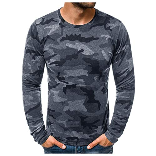 Hombres Camisetas Deportivo Camiseta Manga Larga Camuflaje Pullover Running Gym Entrenamiento Sweatshirt Impresión Tops Cómodo Básica Casual Otoño Invierno(Gris Oscuro,XL)