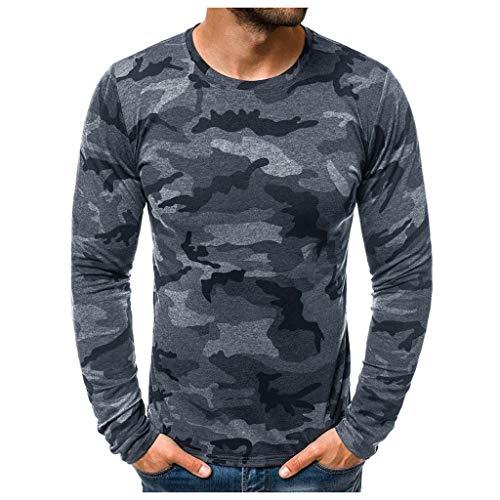 Hombres Camisetas Deportivo Camiseta Manga Larga Camuflaje Pullover Running Gym Entrenamiento Sweatshirt Impresión Tops Cómodo Básica Casual Otoño Invierno(Gris Oscuro,S)
