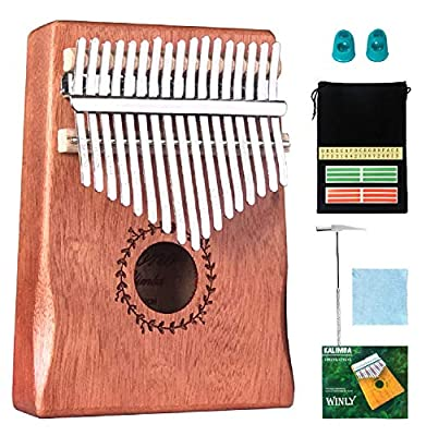 Scorina Kalimba 17 Keys Handguard KalimbaThumb Piano,With Study Instruction And Tune Hammer(2020 New Design),Best Christmas' Gifts For Adult,Kids And Beginners