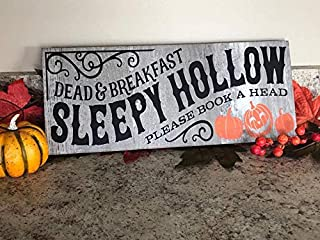 GMK Dead & Breakfast Sleepy Hollow Please Book A Head, Halloween Wood Sign, Holiday Wall Art, Halloween Wall Design Halloween Wall Decor
