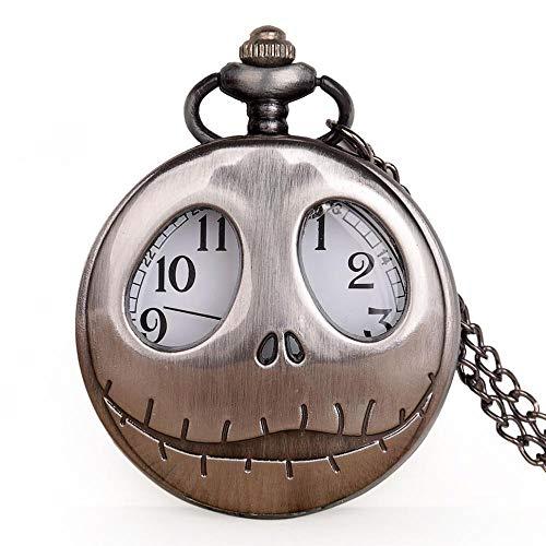 URNOFHW Reloj de Bolsillo Retro Reloj de la Rana de Ojos Grandes de la Nueva Manera de Bolsillo del Cuarzo con la Cadena del Collar del cráneo Colgante Relojes