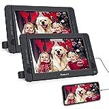 NAVISKAUTO Lettore dvd portatile auto poggiatesta per bambini, due schermi da 10.1 pollici...