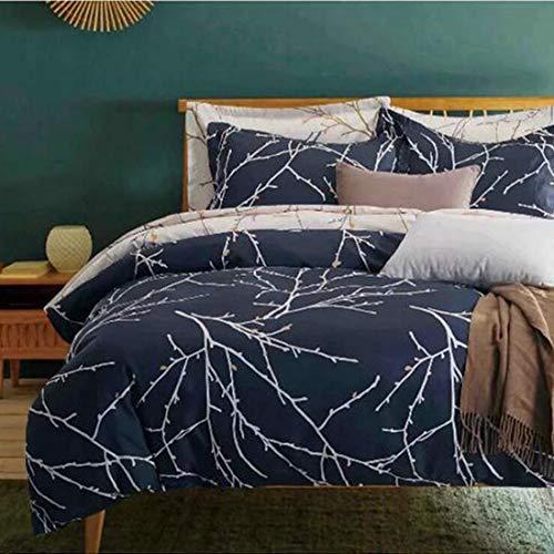 Teyun. Bettwäsche 3 Stück Bettbezug-Set mit Reißverschluss, Druckmuster, angerauter Mikrofaser, Leicht weichen, strapazierfähigen (Color : Gray, Size : King)
