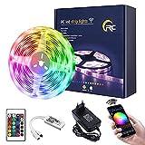 Tira LED 10M,RC WiFi 5050 Luces LED RGB,Compatible con Alexa/Google Home,Remoto de 24 Botones & Función Musical,Tira LED RGB para...