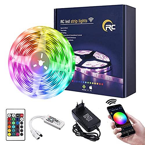 Tira LED 10M,RC WiFi 5050 Luces LED RGB,Compatible con Alexa/Google Home,Remoto de 24 Botones & Función Musical,Tira LED RGB para Habitacion,Techo, Pared Decoración