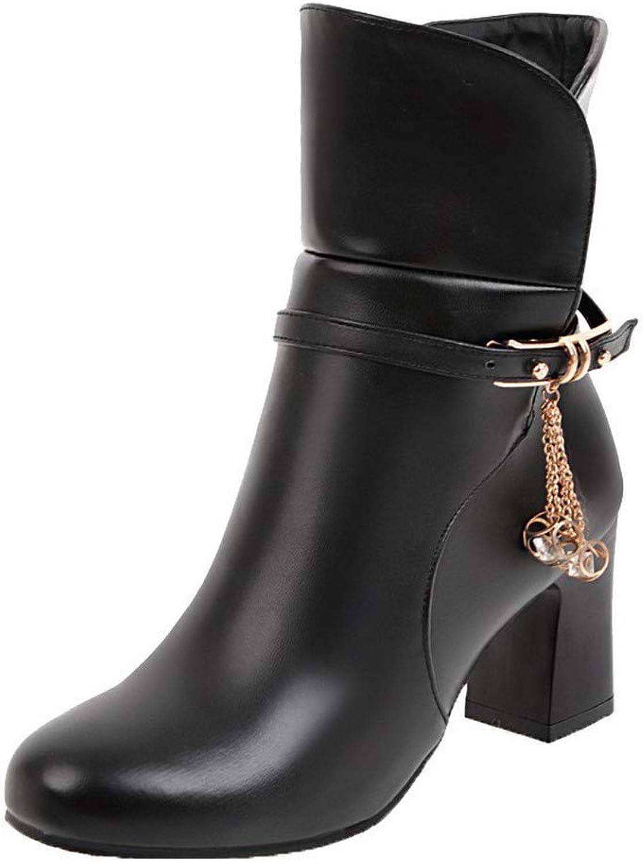 WeiPoot Women's Round-Toe Low-Top Kitten-Heels Solid Pu Boots, EGHXH115541