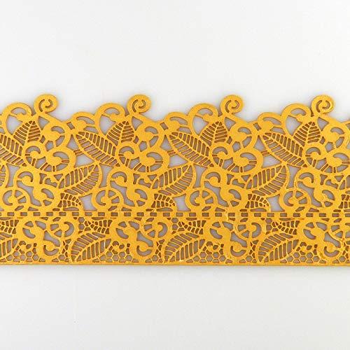 Coximus gebrauchsfertige essbare Spitze für filigrane Spitzen-Deko von Torten   38 x 8 cm fertige Zucker-Spitze in der Farbe Gold mit Blüten &...