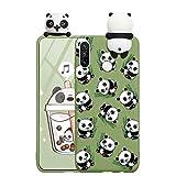 ZhuoFan Funda para Huawei Y6 2019, Cárcasa Silicona 3D Muñecas con Dibujos Colores Diseño Suave Gel TPU Antigolpes de Protector Case Cover Fundas Movil para Huawei Y6 2019 6,09', Panda 2