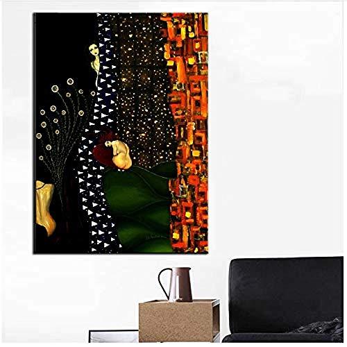 Canvas print,Woondecoratie Poster Gustav Klimt Gedrukt schilderij Nordic Modular Pictures for Living Room-50x80cm
